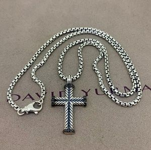 DY Chevron Cross Pendant with Black Diamonds Chain
